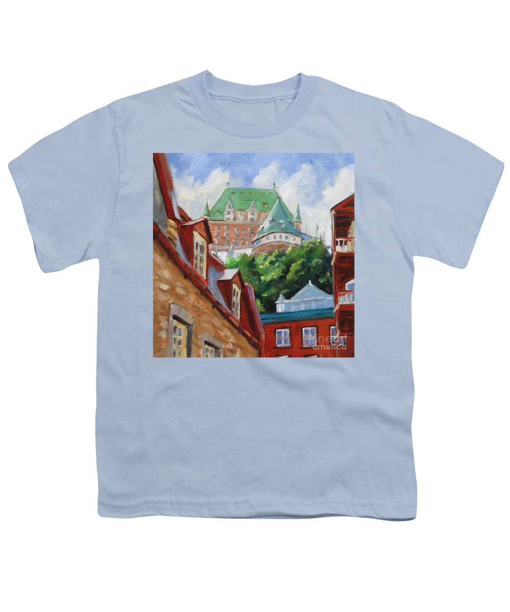 Chateau Frontenac Youth T-Shirt featuring the painting Chateau Frontenac by Richard T Pranke