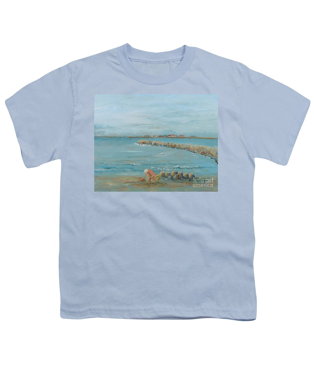 Beach Youth T-Shirt featuring the painting Child Playing At Provence Beach by Nadine Rippelmeyer