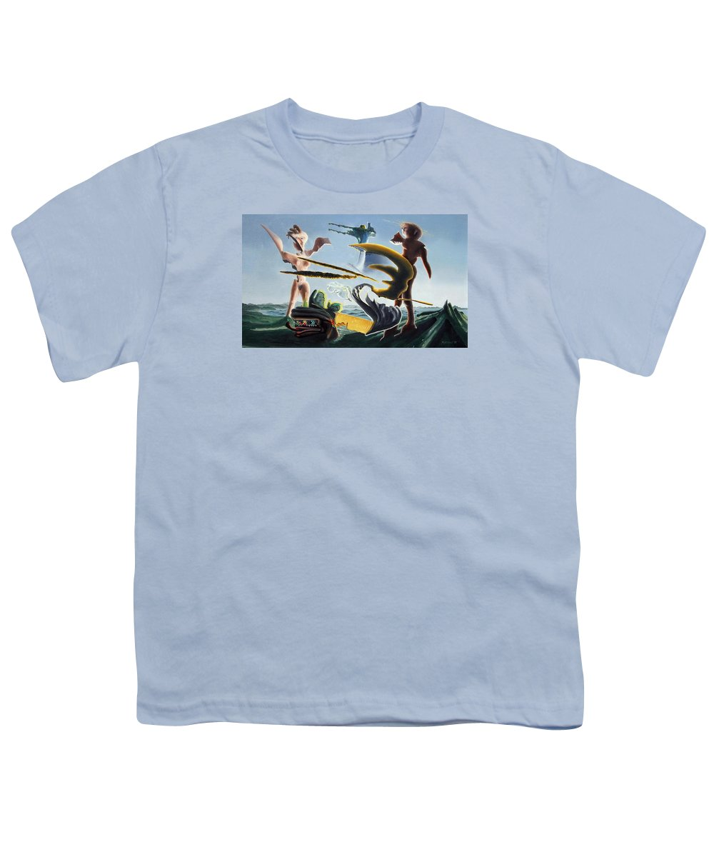 Landscape Youth T-Shirt featuring the painting Civilization Found Intact by Dave Martsolf