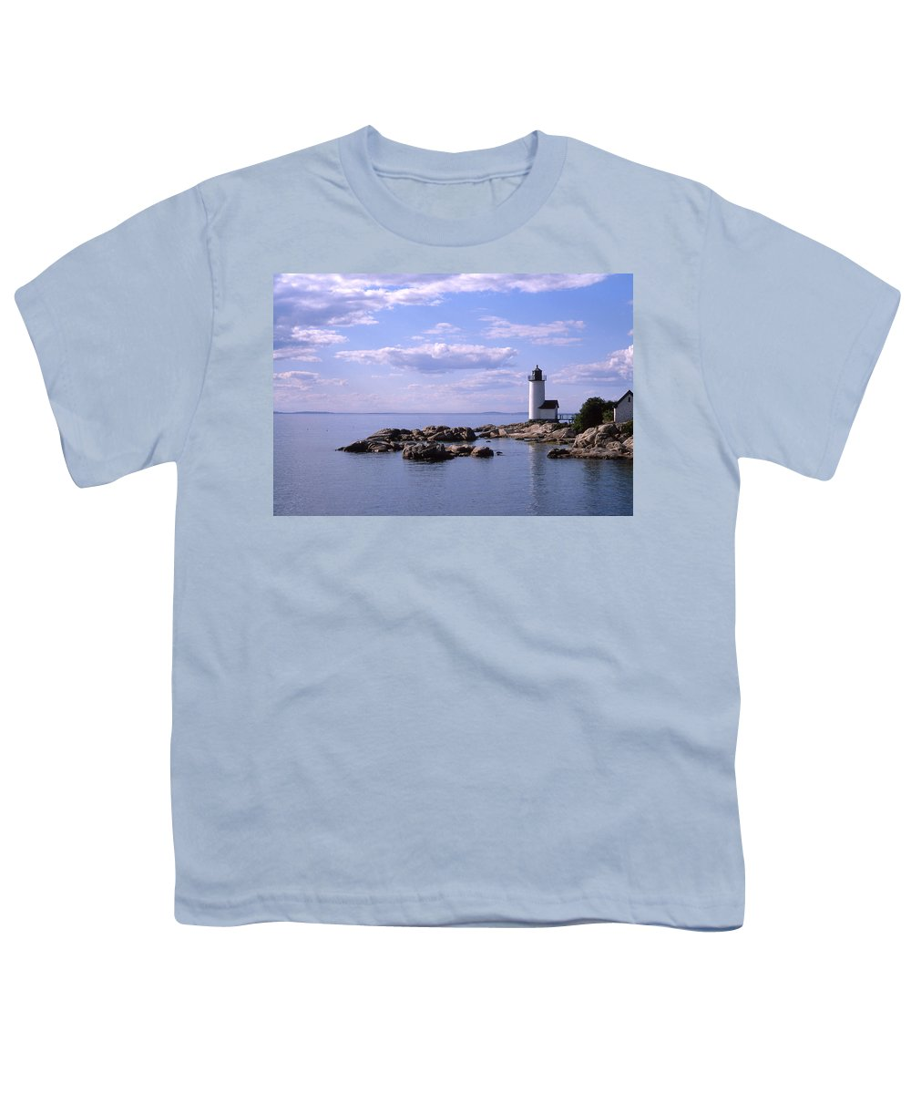 Landscape Lighthouse New England Nautical Youth T-Shirt featuring the photograph Cnrf0901 by Henry Butz