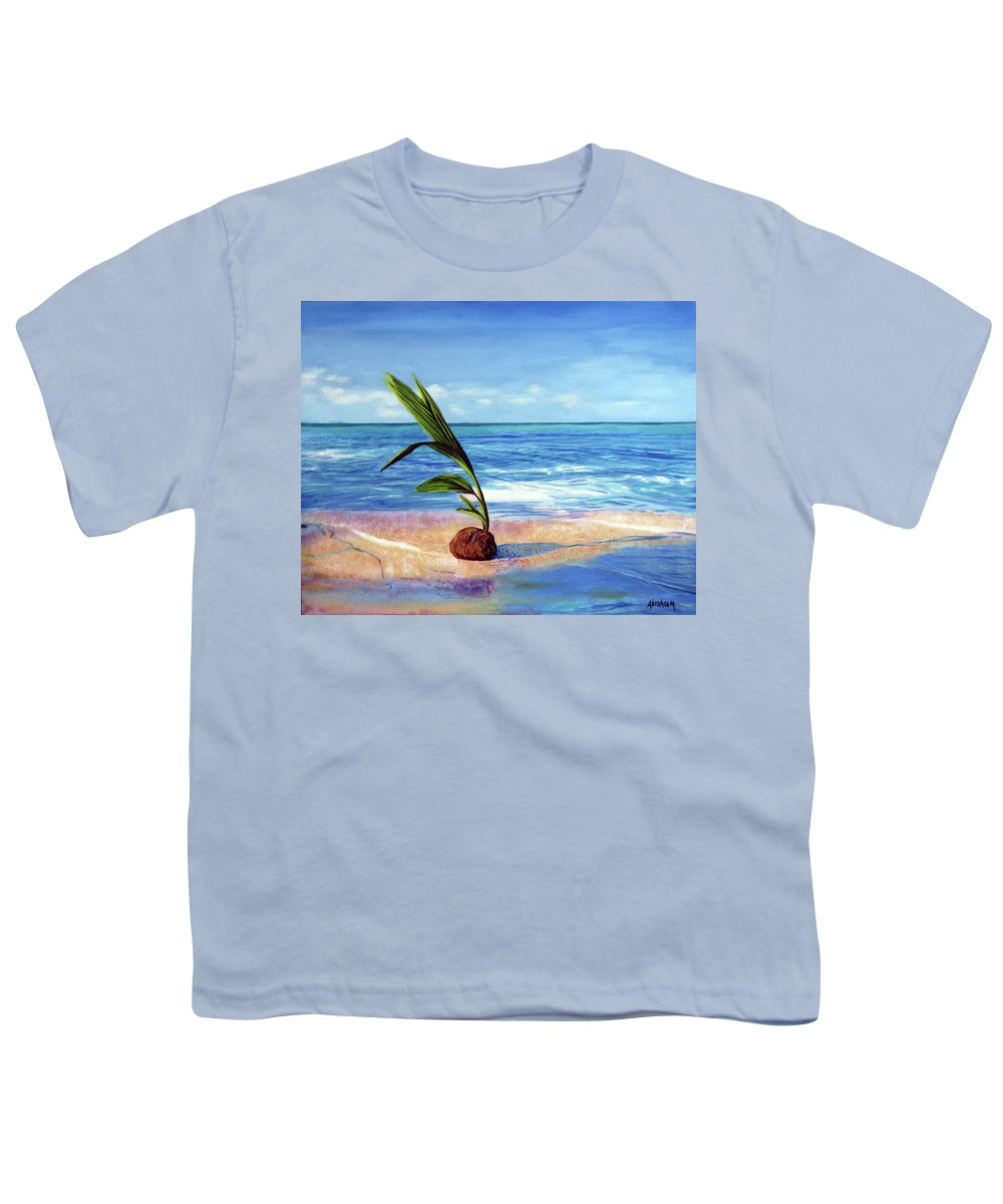 Ocean Youth T-Shirt featuring the painting Coconut on beach by Jose Manuel Abraham