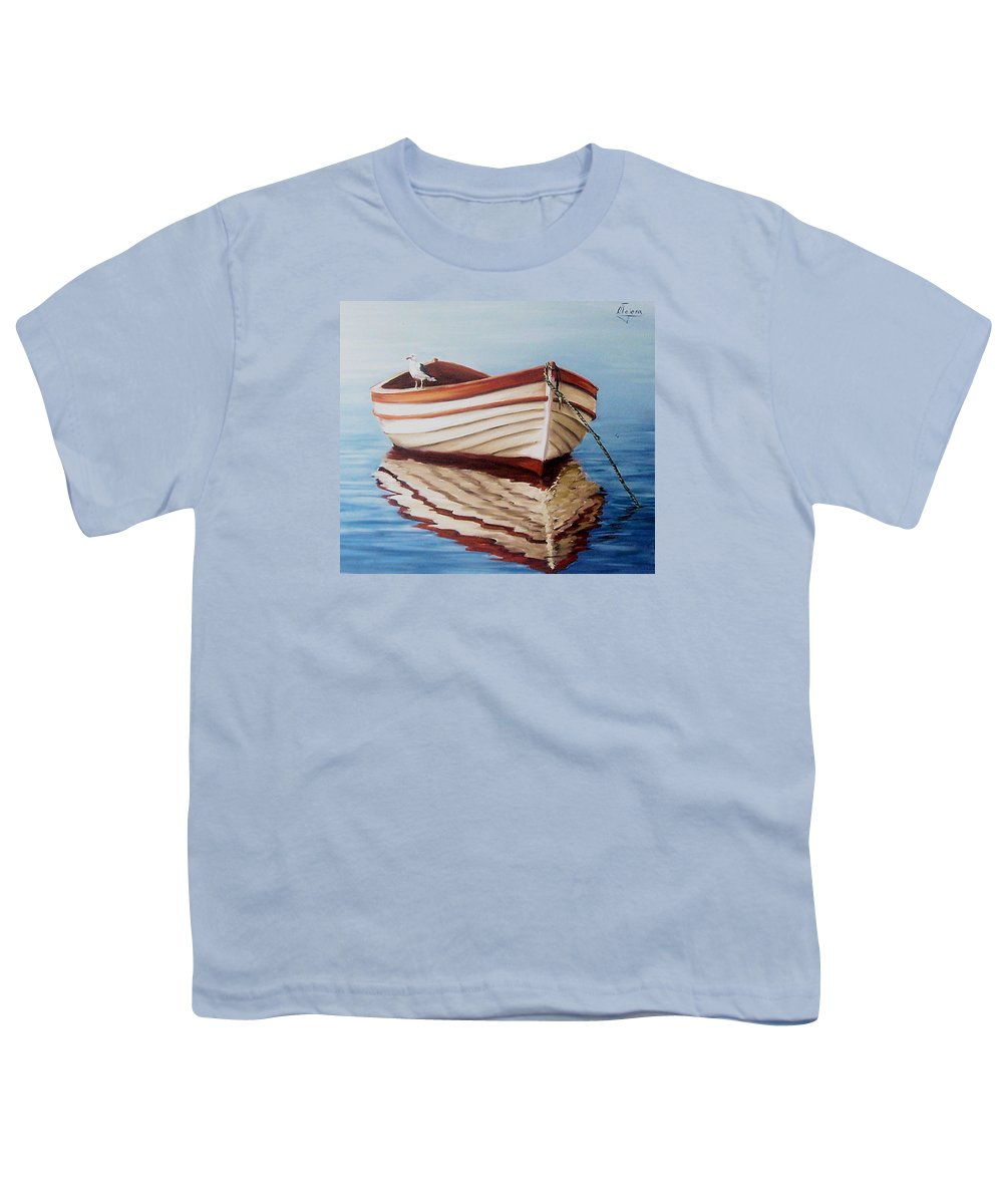 Sea Seascape Boat Reflections Water Ocean Seagull Bird Youth T-Shirt featuring the painting Contemplative by Natalia Tejera