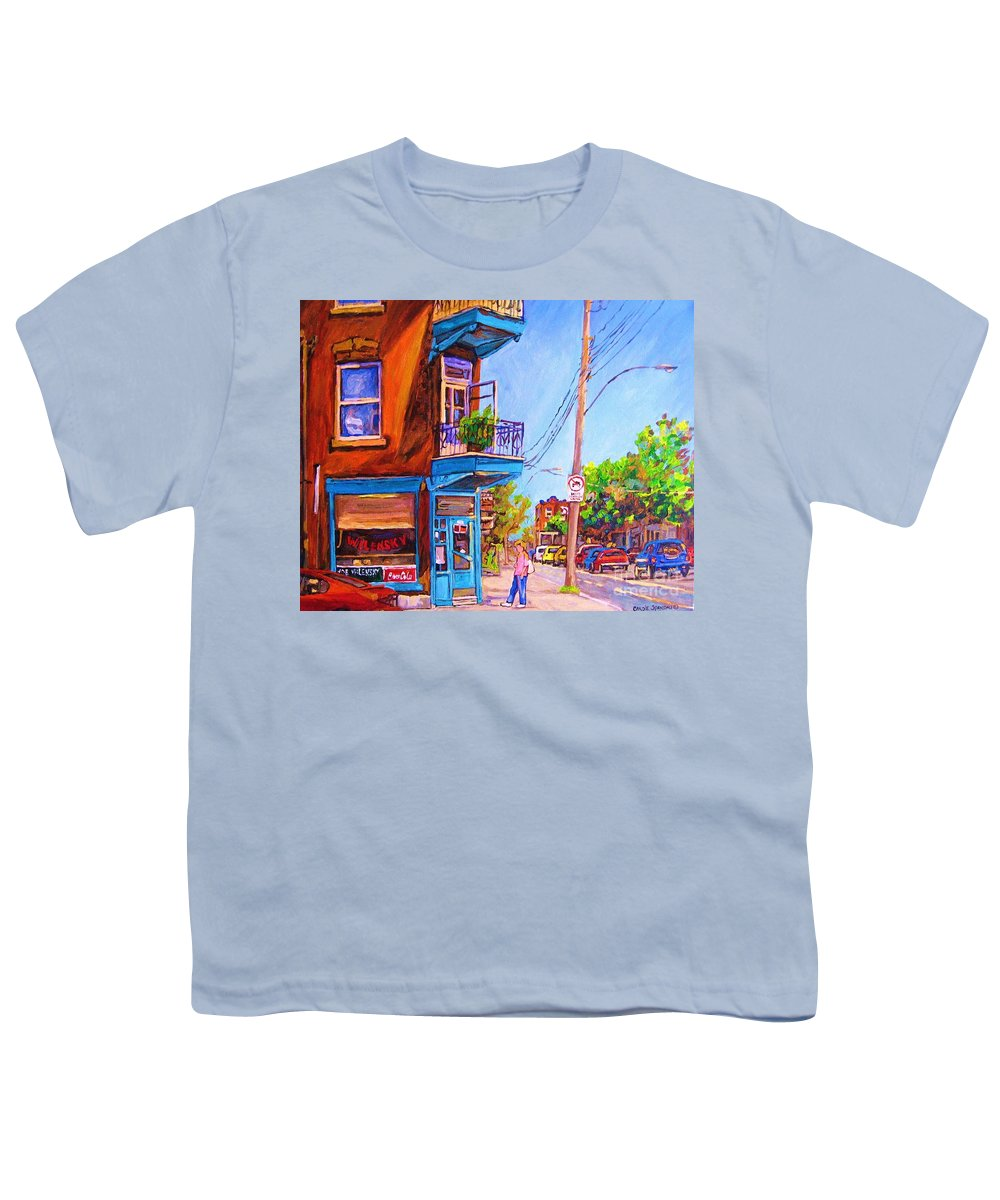 Wilenskys Corner Fairmount And Clark Youth T-Shirt featuring the painting Corner Deli Lunch Counter by Carole Spandau