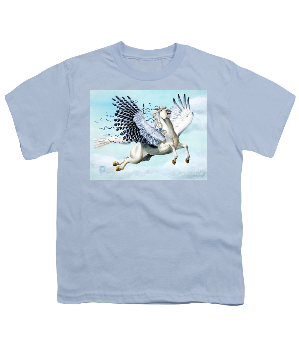 Artwork Youth T-Shirt featuring the painting Cory Pegasus by Melissa A Benson