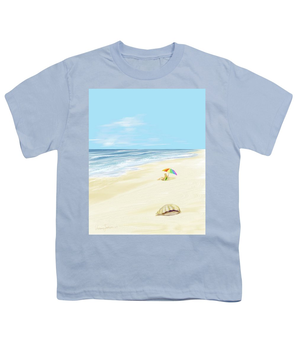 Beach Summer Sun Sand Waves Shells Youth T-Shirt featuring the digital art Day At The Beach by Veronica Jackson