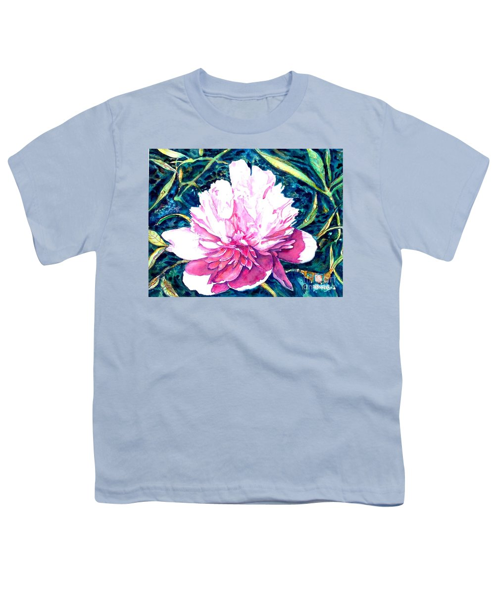 Peony Youth T-Shirt featuring the painting Delightful Peony by Norma Boeckler