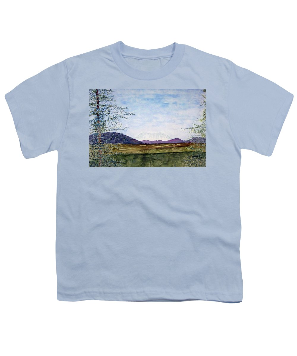 Alaska Art Youth T-Shirt featuring the painting Denali In July by Larry Wright