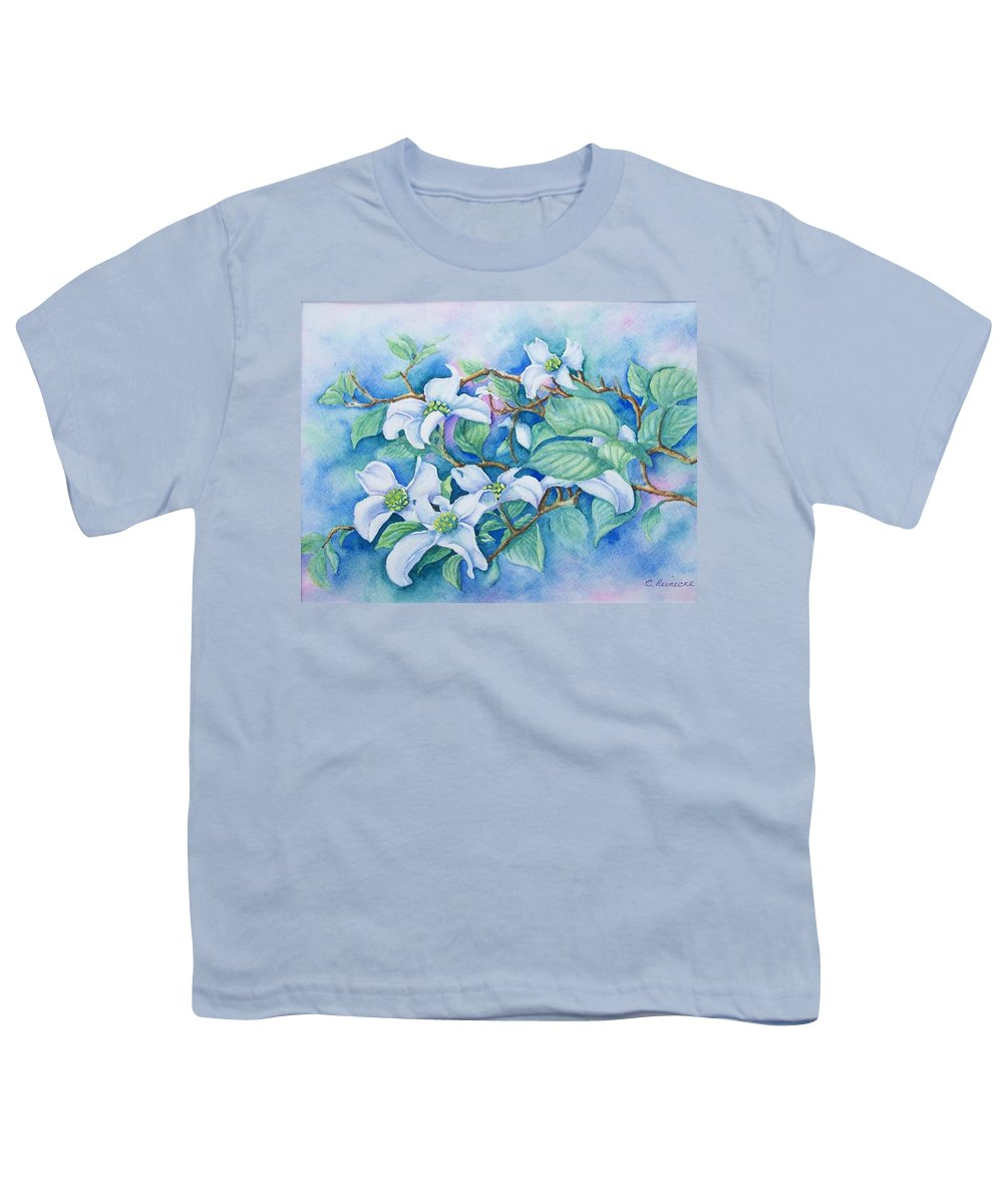 Floral Youth T-Shirt featuring the painting Dogwood by Conni Reinecke