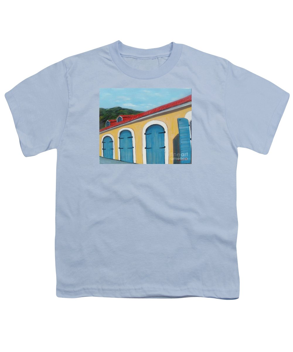 Doors Youth T-Shirt featuring the painting Dutch Doors Of St. Thomas by Laurie Morgan