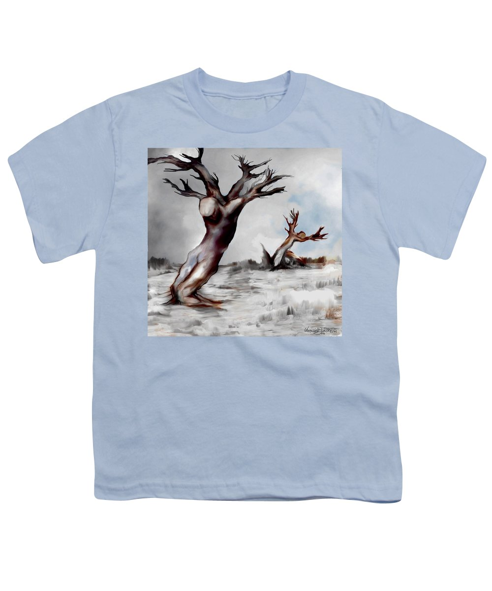 Trees Soul Nature Sky Storm Freedom Youth T-Shirt featuring the mixed media Earthbound by Veronica Jackson