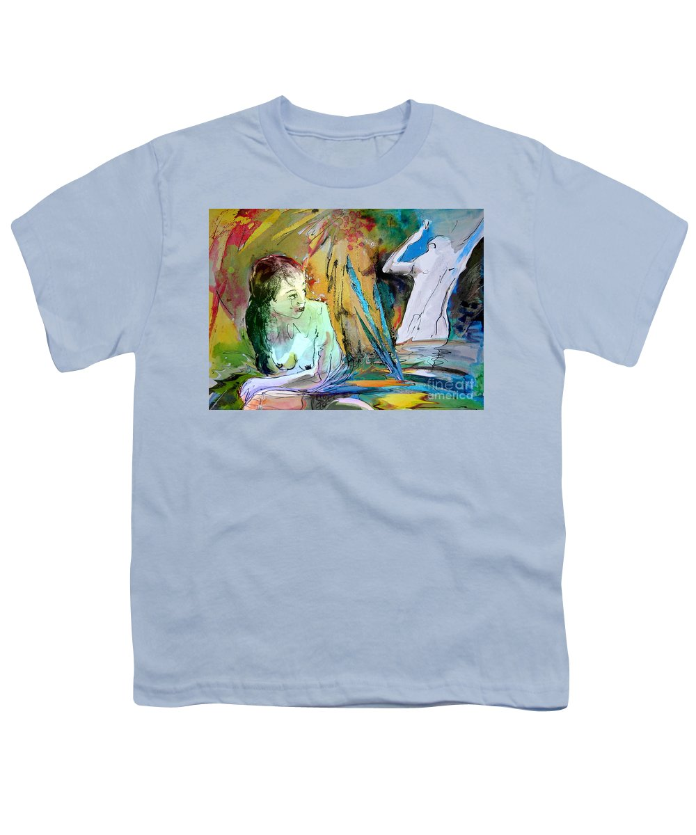 Miki Youth T-Shirt featuring the painting Eroscape 15 1 by Miki De Goodaboom