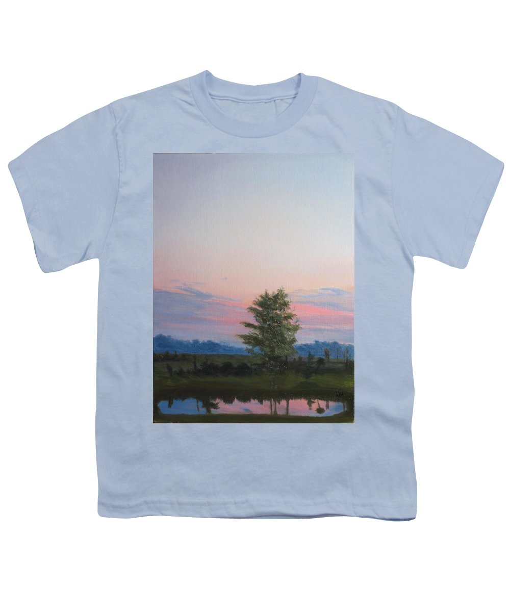 Landscape Youth T-Shirt featuring the painting Evening Sky by Lea Novak