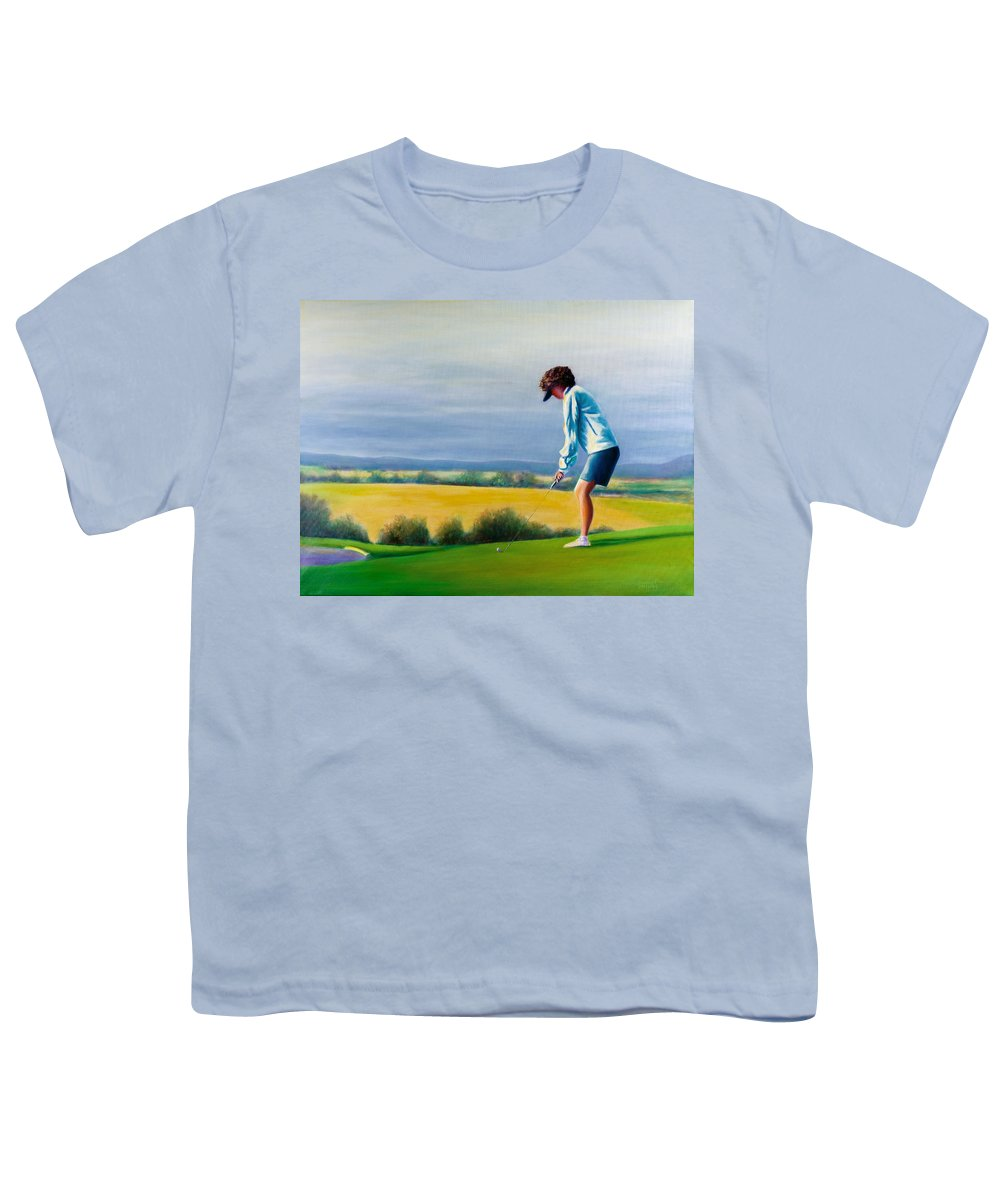 Golfer Youth T-Shirt featuring the painting Fairy Golf Mother by Shannon Grissom