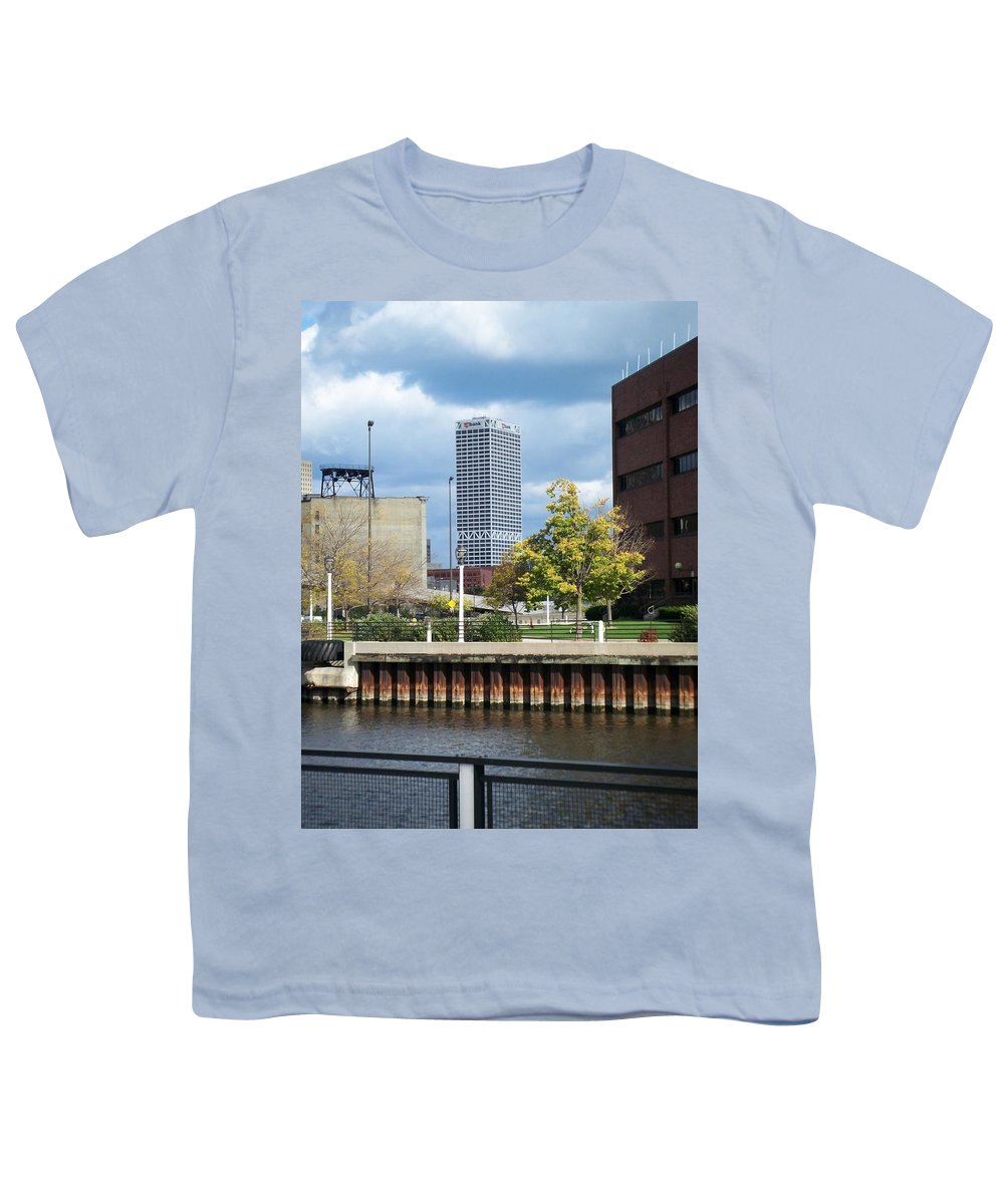First Star Bank Youth T-Shirt featuring the photograph First Star Tall View From River by Anita Burgermeister