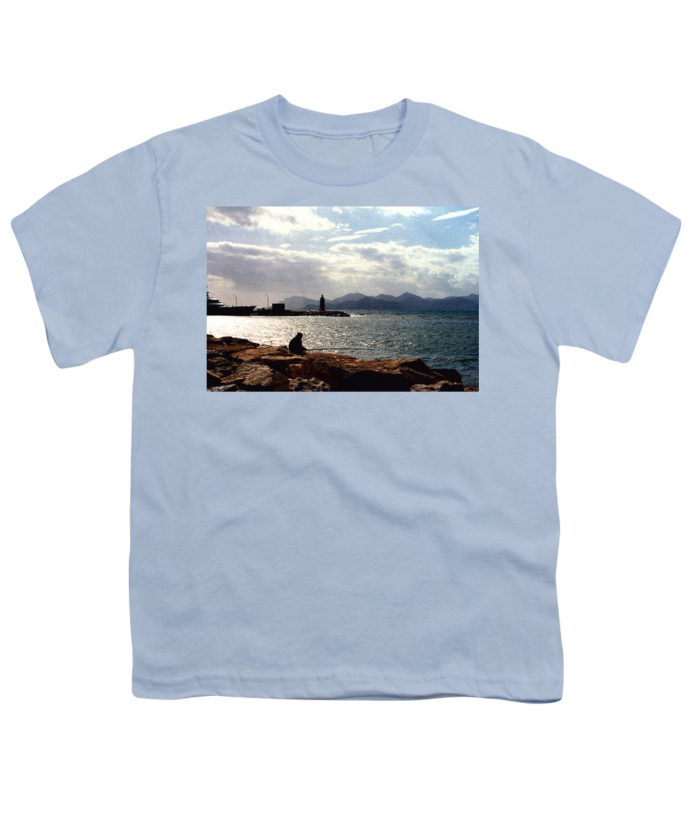 Fisherman Youth T-Shirt featuring the photograph Fisherman In Nice France by Nancy Mueller