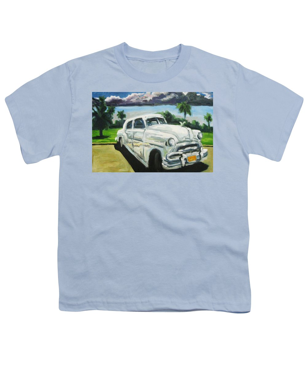 Old Cars Youth T-Shirt featuring the painting Gangsters On Vacation by John Malone