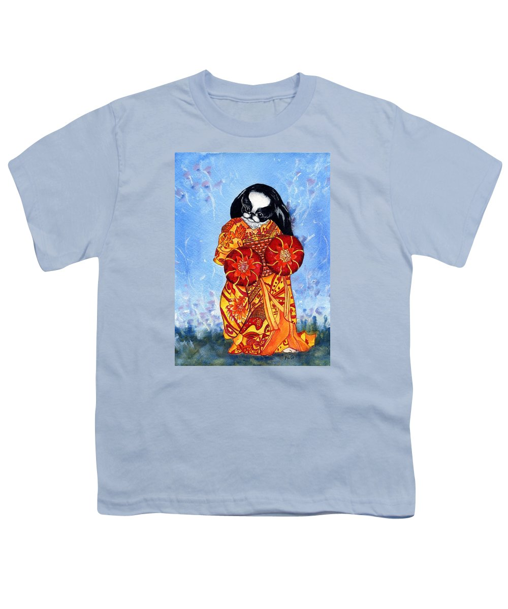 Japanese Chin Youth T-Shirt featuring the painting Geisha Chin by Kathleen Sepulveda