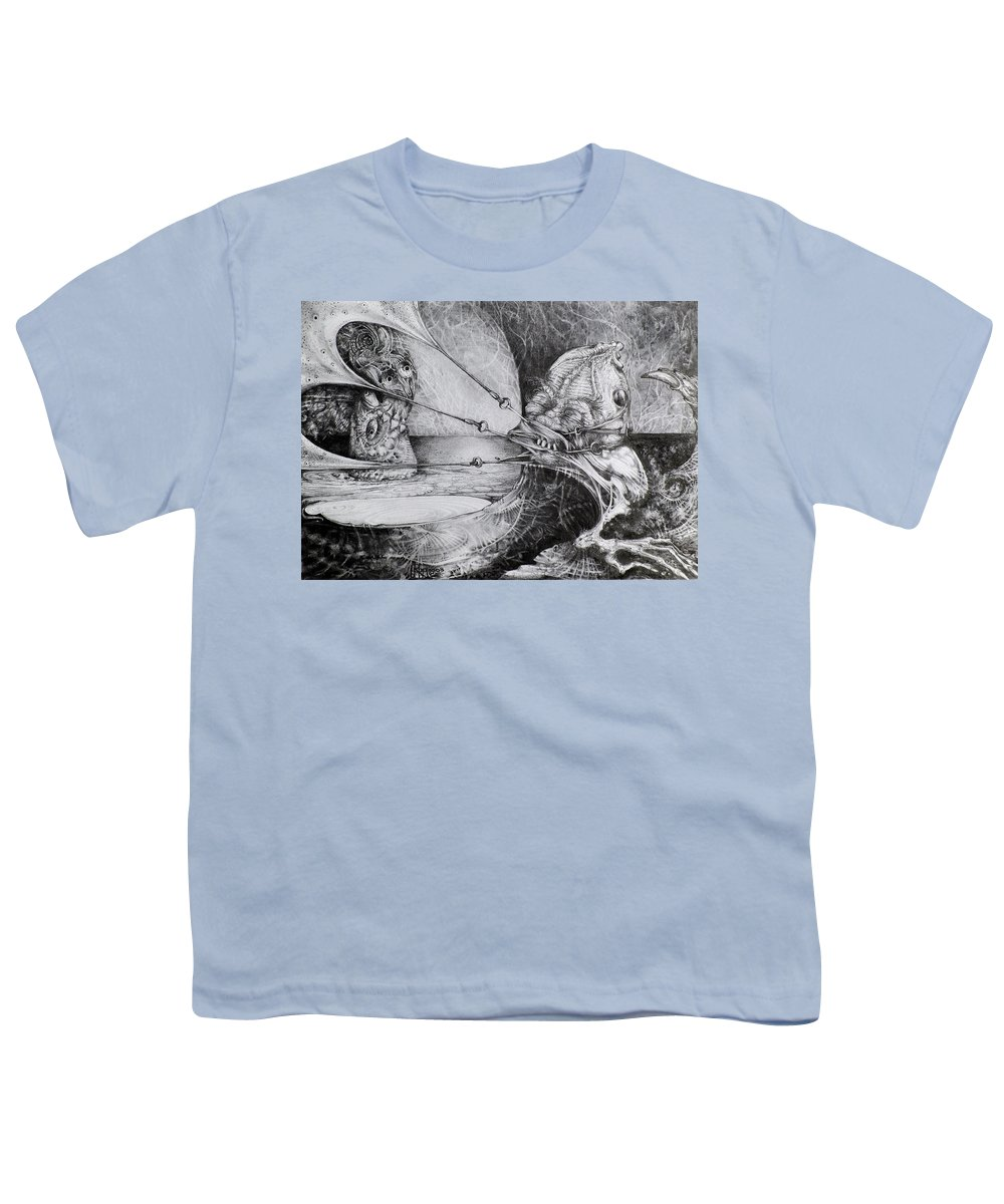 Surrealism Youth T-Shirt featuring the drawing General Peckerwood In Purgatory by Otto Rapp