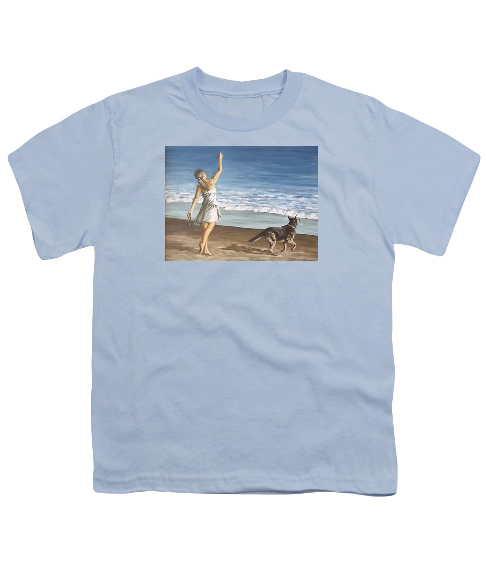 Portrait Girl Beach Dog Seascape Sea Children Figure Figurative Youth T-Shirt featuring the painting Girl And Dog by Natalia Tejera