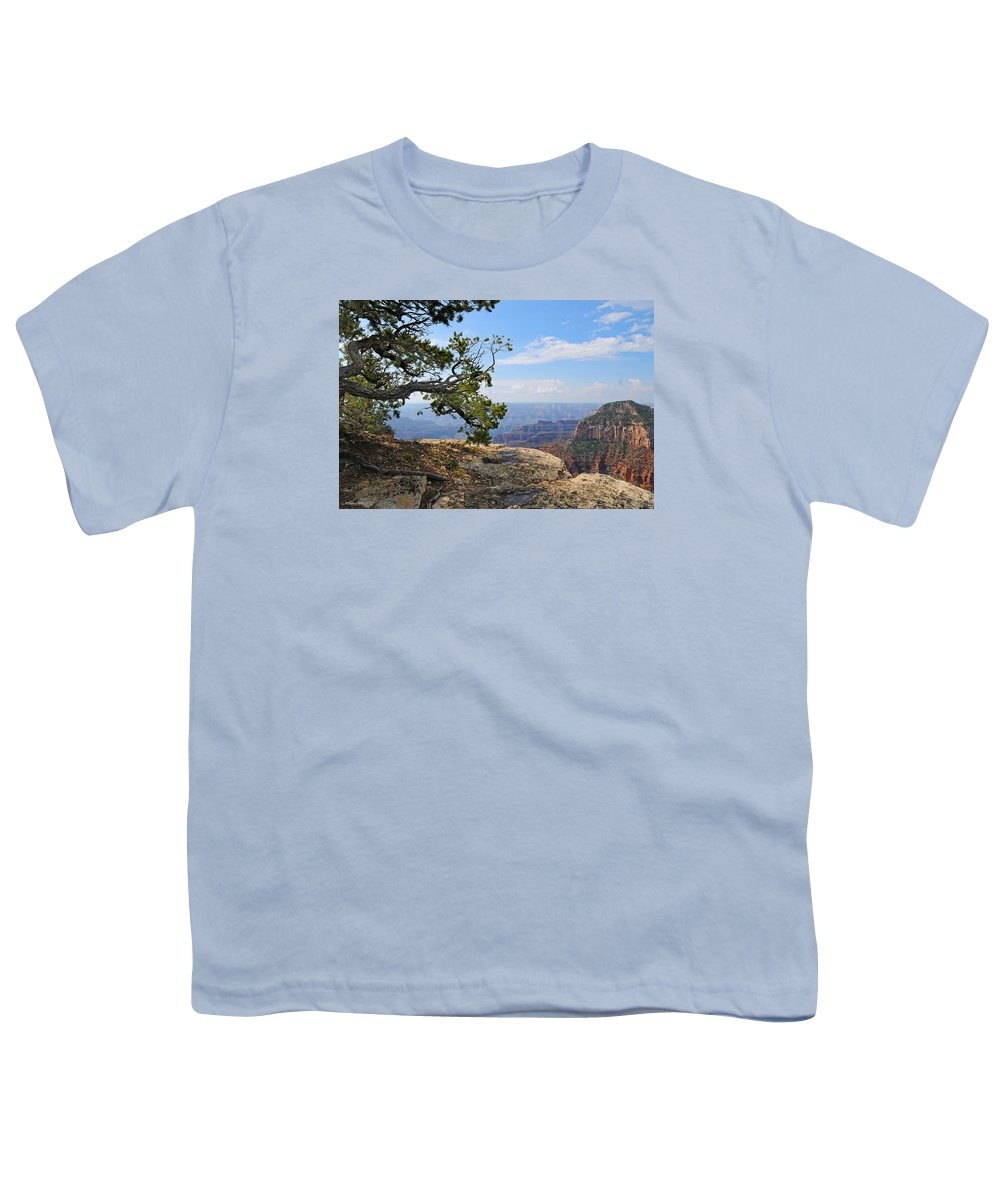 Grand Canyon Youth T-Shirt featuring the photograph Grand Canyon North Rim Craggy Cliffs by Victoria Oldham