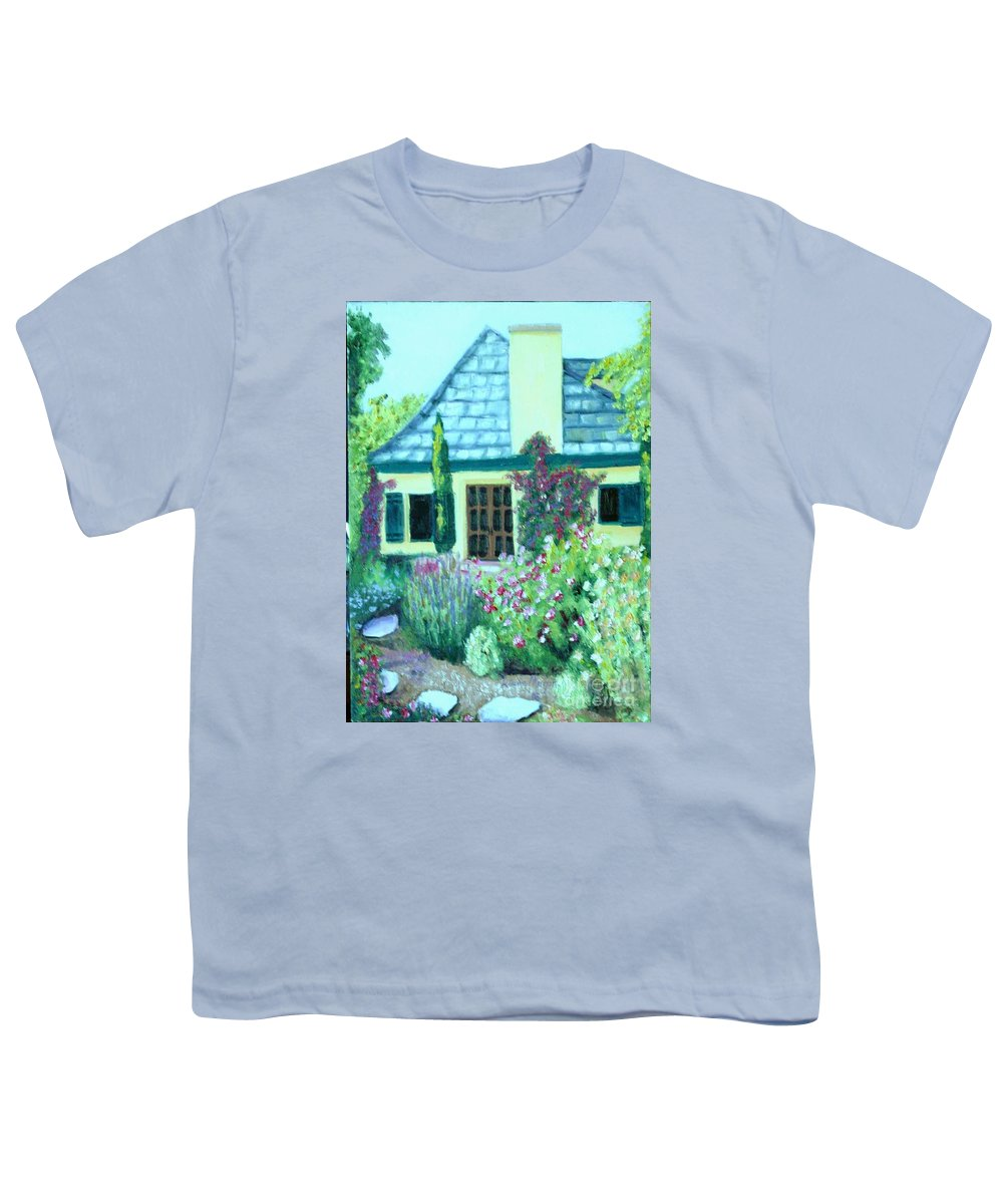 Cottage Youth T-Shirt featuring the painting Guest Cottage by Laurie Morgan