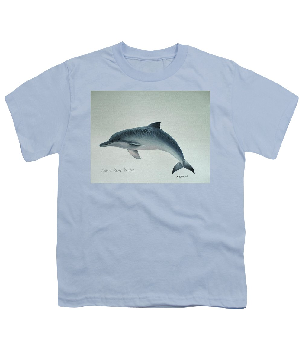 River Dolphin Youth T-Shirt featuring the painting Guiana River Dolphin by Christopher Cox