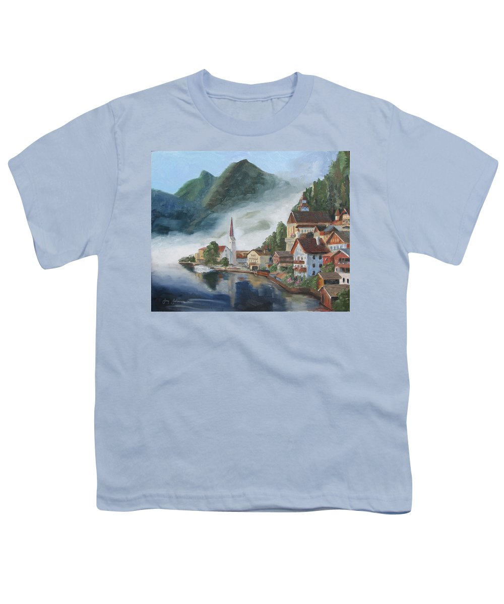 Landscape Youth T-Shirt featuring the painting Hallstatt Austria by Jay Johnson