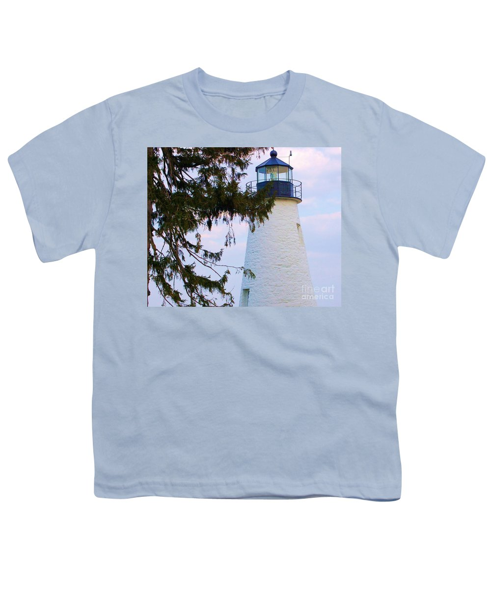 Lighthouse Youth T-Shirt featuring the photograph Havre De Grace Lighthouse by Debbi Granruth