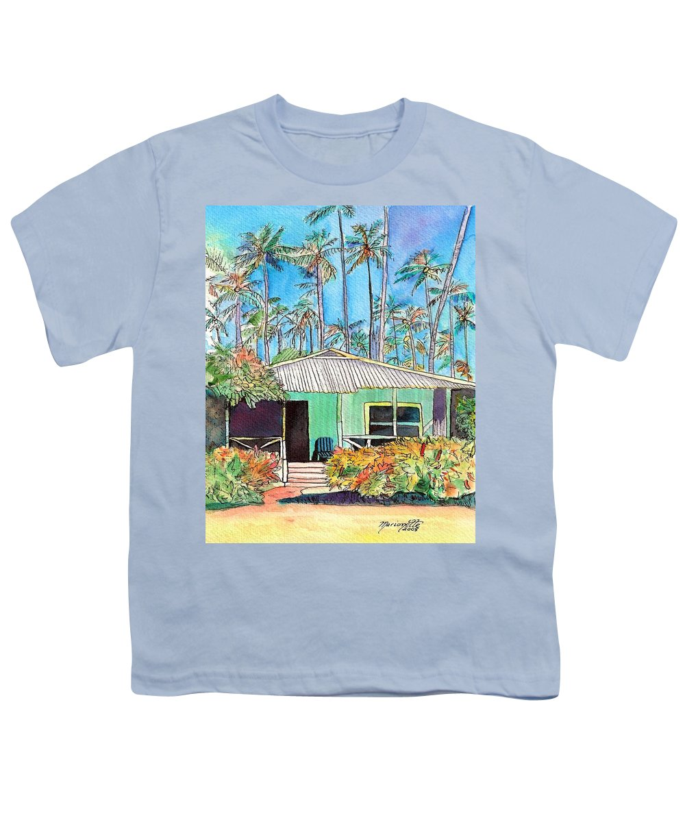 Cottage Youth T-Shirt featuring the painting Hawaiian Cottage I by Marionette Taboniar