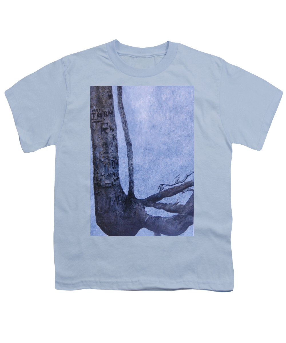 Tree Trunk Youth T-Shirt featuring the painting Hedden Park II by Leah Tomaino