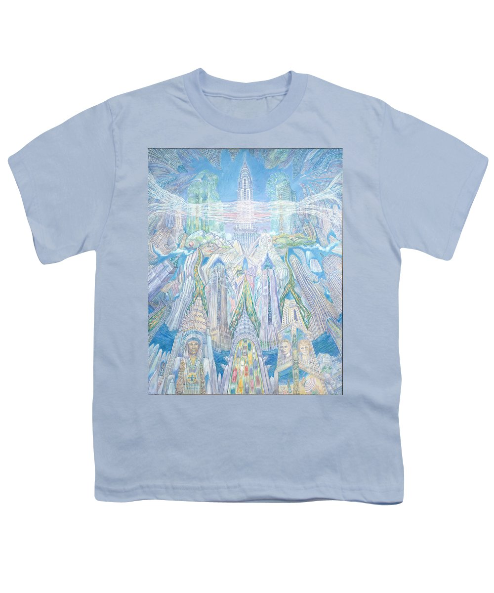 New York Cityscape Youth T-Shirt featuring the painting Homage To New York And The Chrysler Building by Patricia Buckley