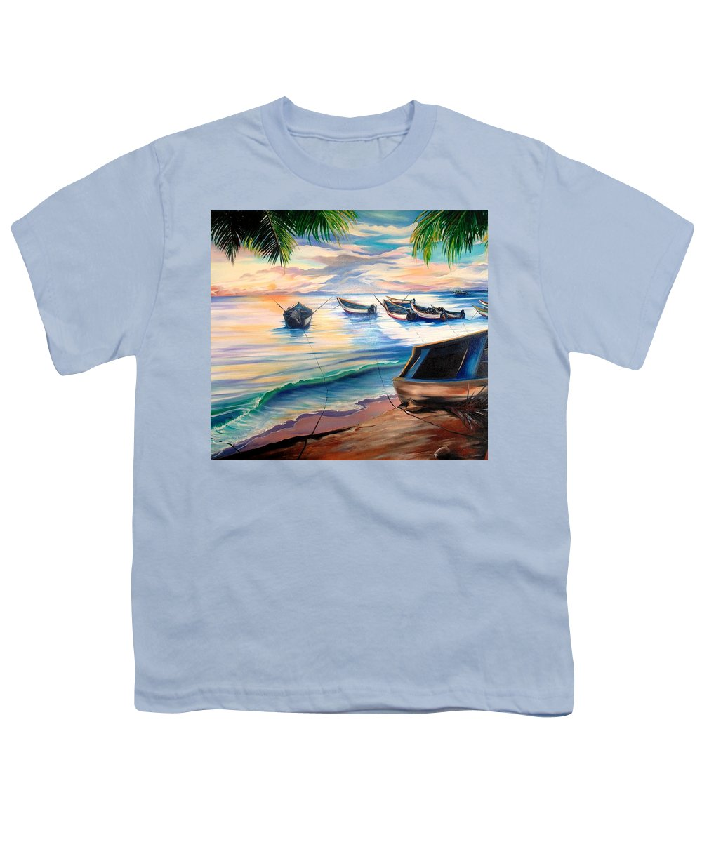 Ocean Painting Caribbean Painting Seascape Painting Beach Painting Fishing Boats Painting Sunset Painting Blue Palm Trees Fisherman Trinidad And Tobago Painting Tropical Painting Youth T-Shirt featuring the painting Home From The Sea by Karin Dawn Kelshall- Best