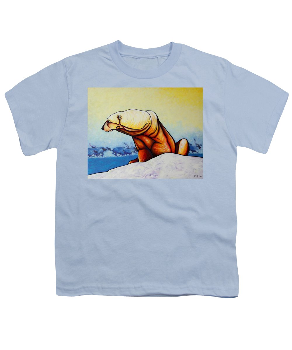 Wildlife Youth T-Shirt featuring the painting Hunger Burns - Polar Bear And Caribou by Joe Triano