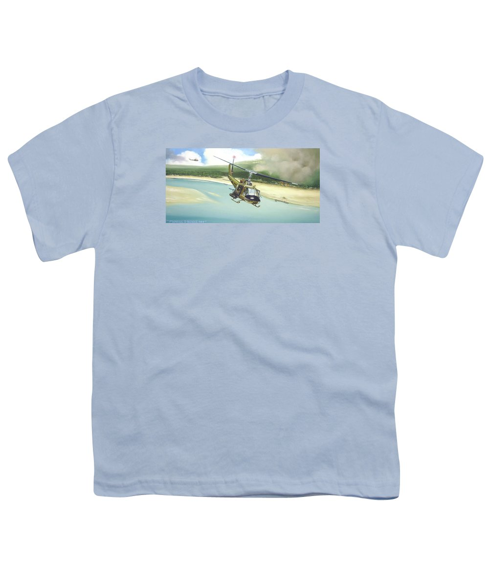 Military Youth T-Shirt featuring the painting Hunter Hueys by Marc Stewart