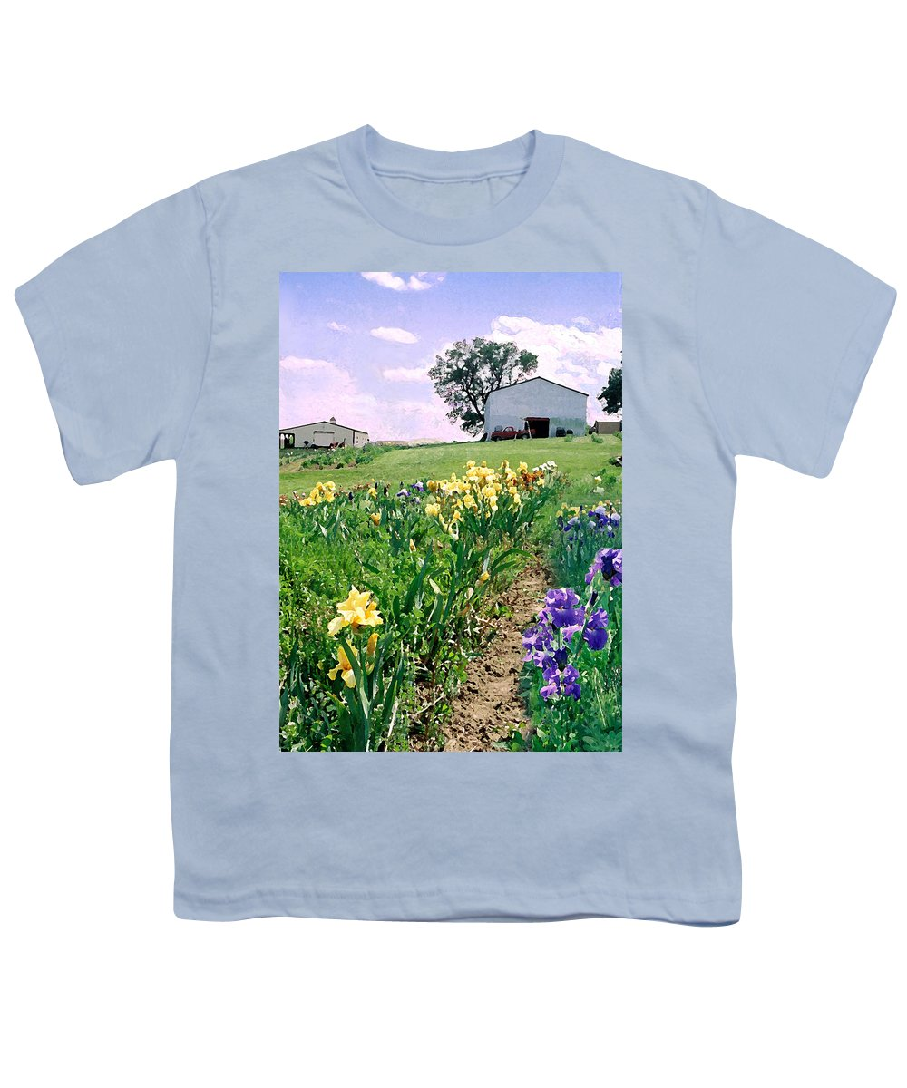 Landscape Painting Youth T-Shirt featuring the photograph Iris Farm by Steve Karol