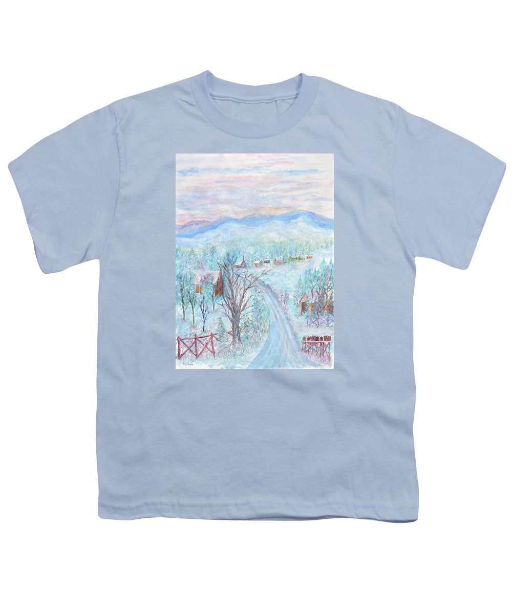 Winter Youth T-Shirt featuring the painting Joy of Winter by Ben Kiger