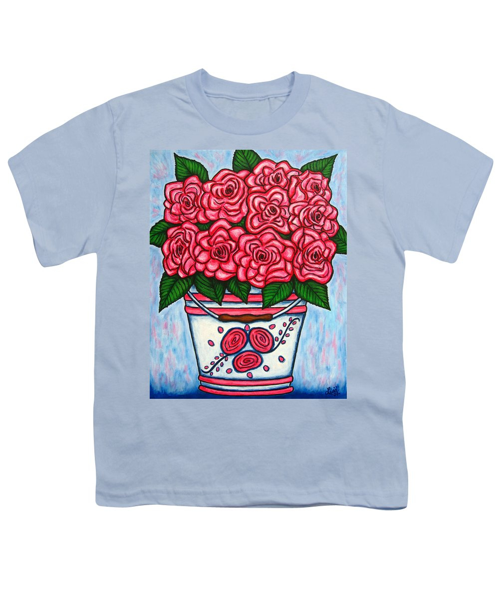 Rose Youth T-Shirt featuring the painting La Vie En Rose by Lisa Lorenz