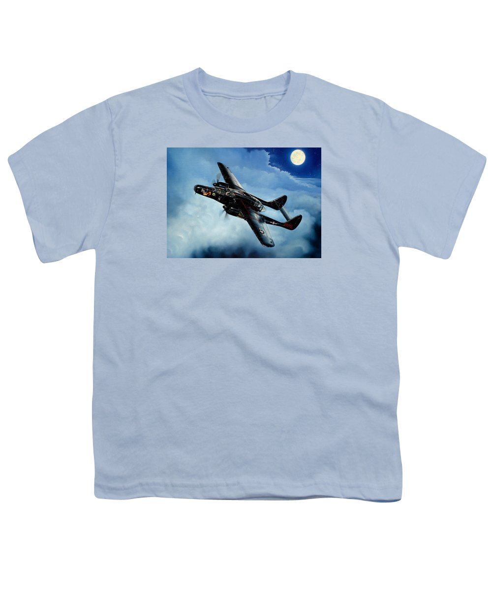 Military Youth T-Shirt featuring the painting Lady In The Dark by Marc Stewart