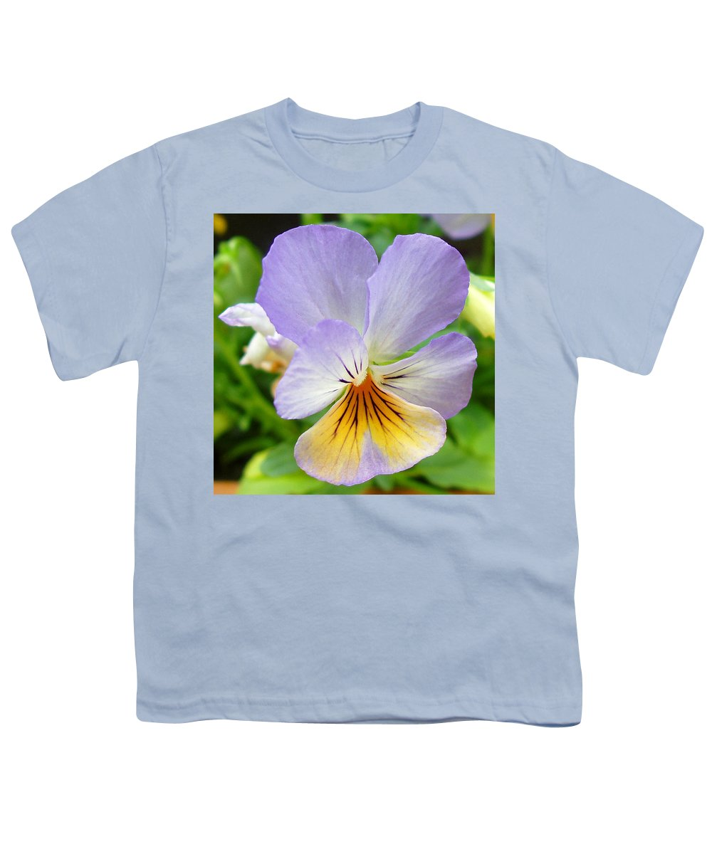 Pansy Youth T-Shirt featuring the photograph Lavender Pansy by Nancy Mueller