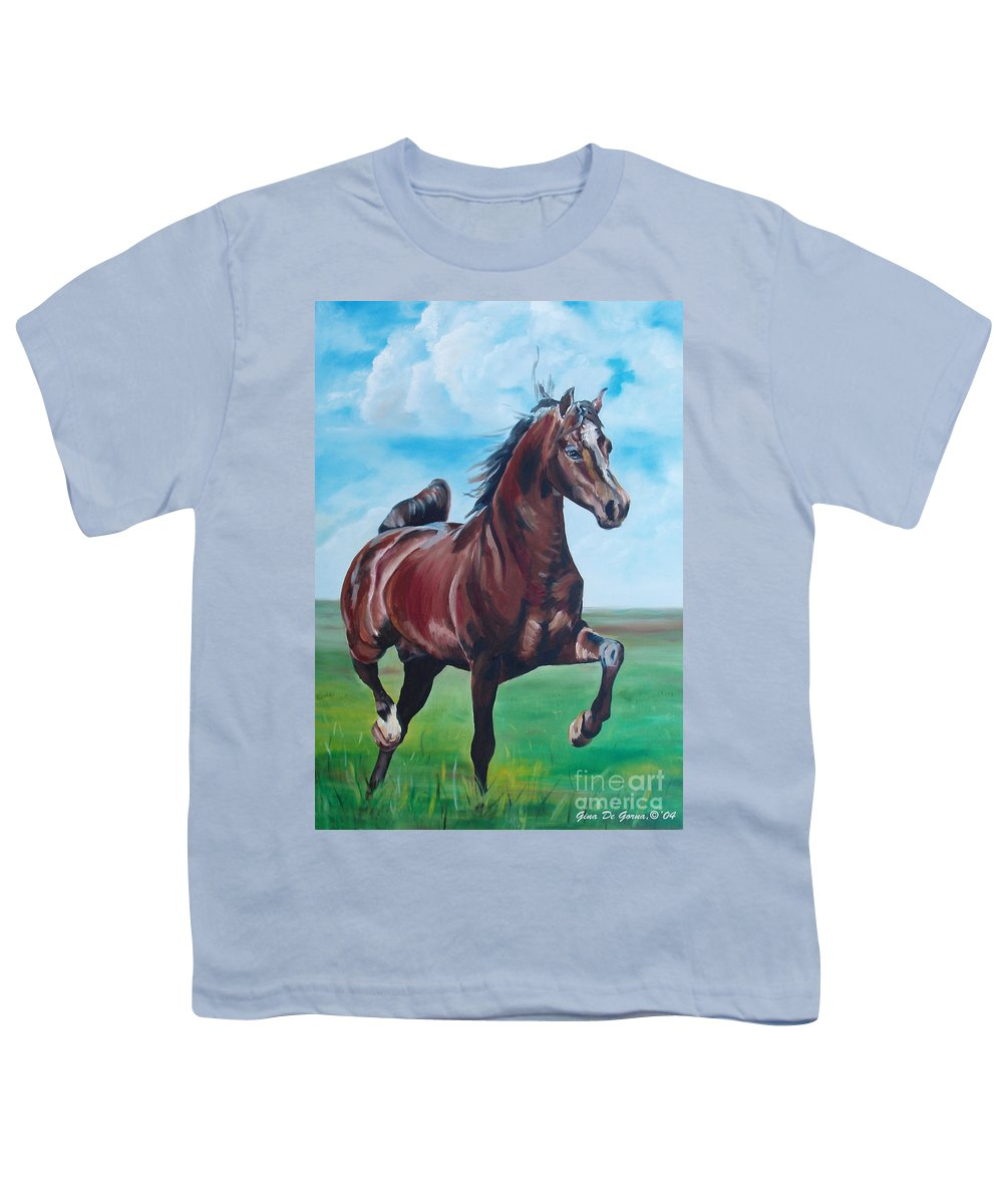 Horse Youth T-Shirt featuring the painting Lovely by Gina De Gorna