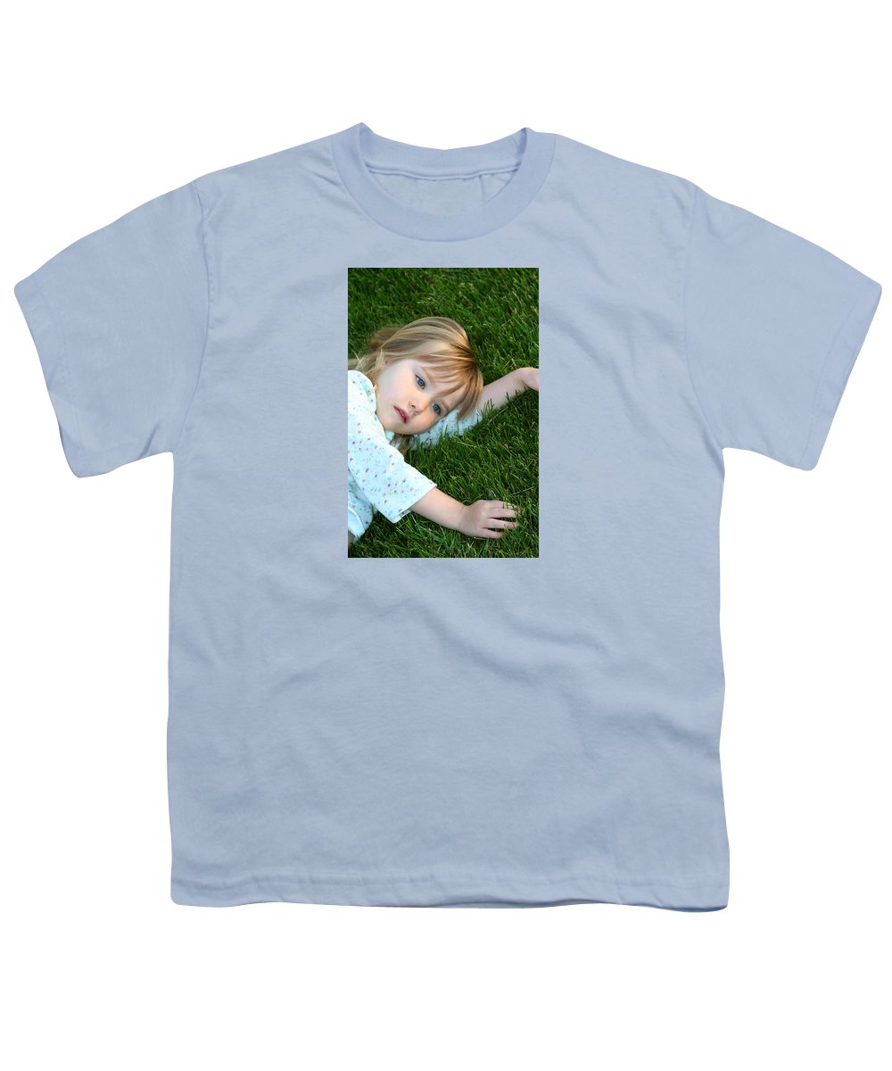 Girl Youth T-Shirt featuring the photograph Lying In The Grass by Margie Wildblood