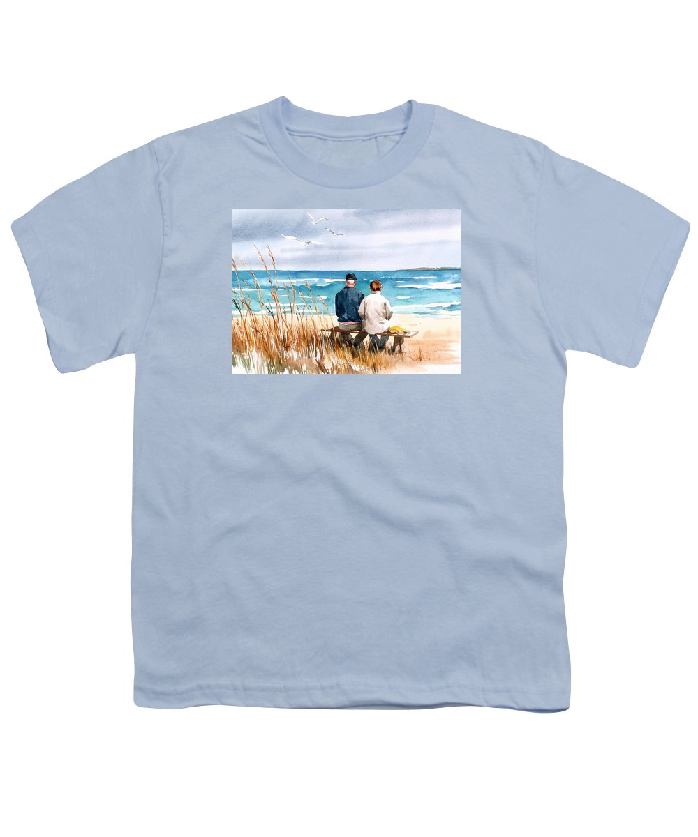 Couple On Beach Youth T-Shirt featuring the painting Memories by Art Scholz