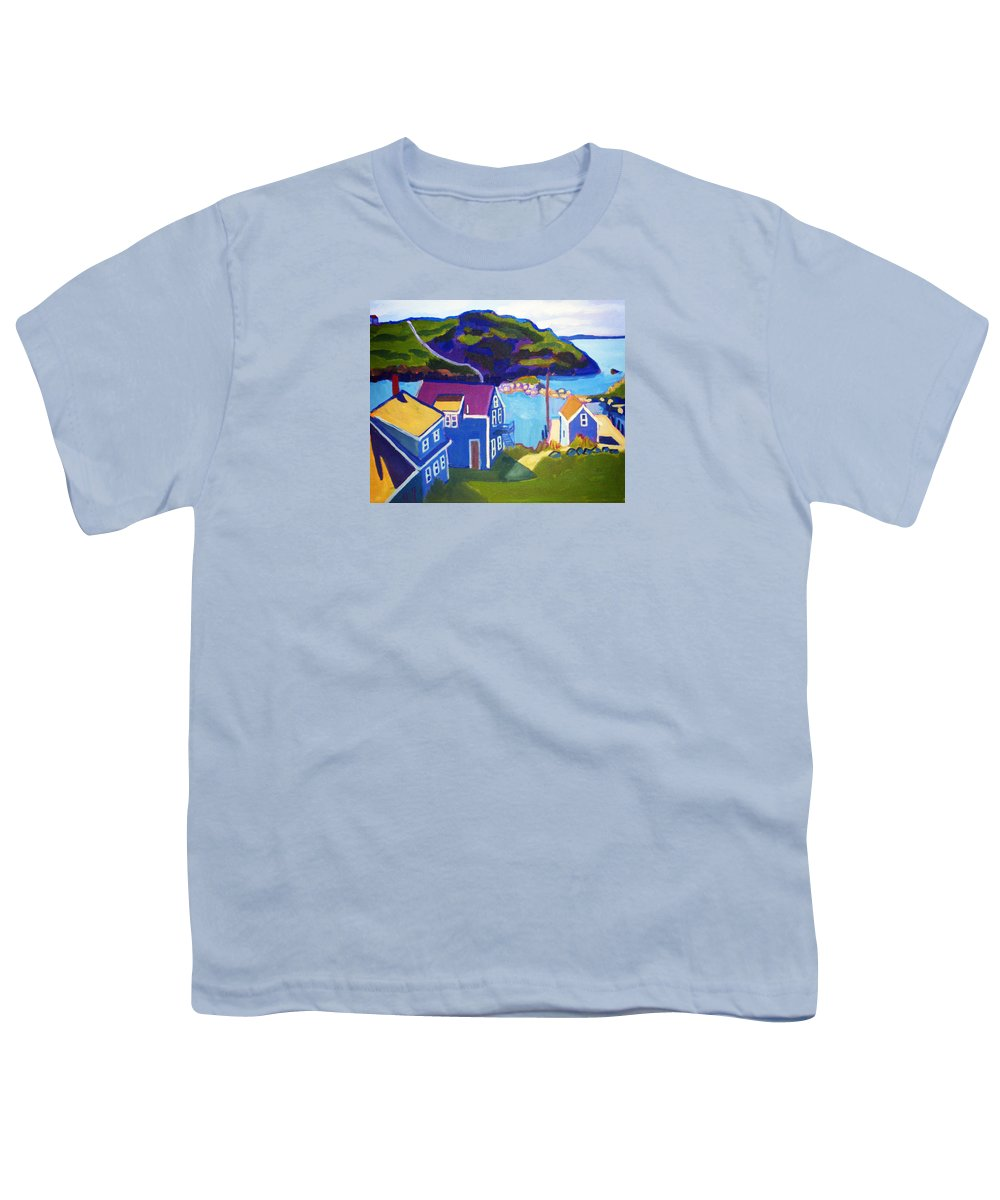 Seascape Youth T-Shirt featuring the painting Monhegan Harbor by Debra Bretton Robinson