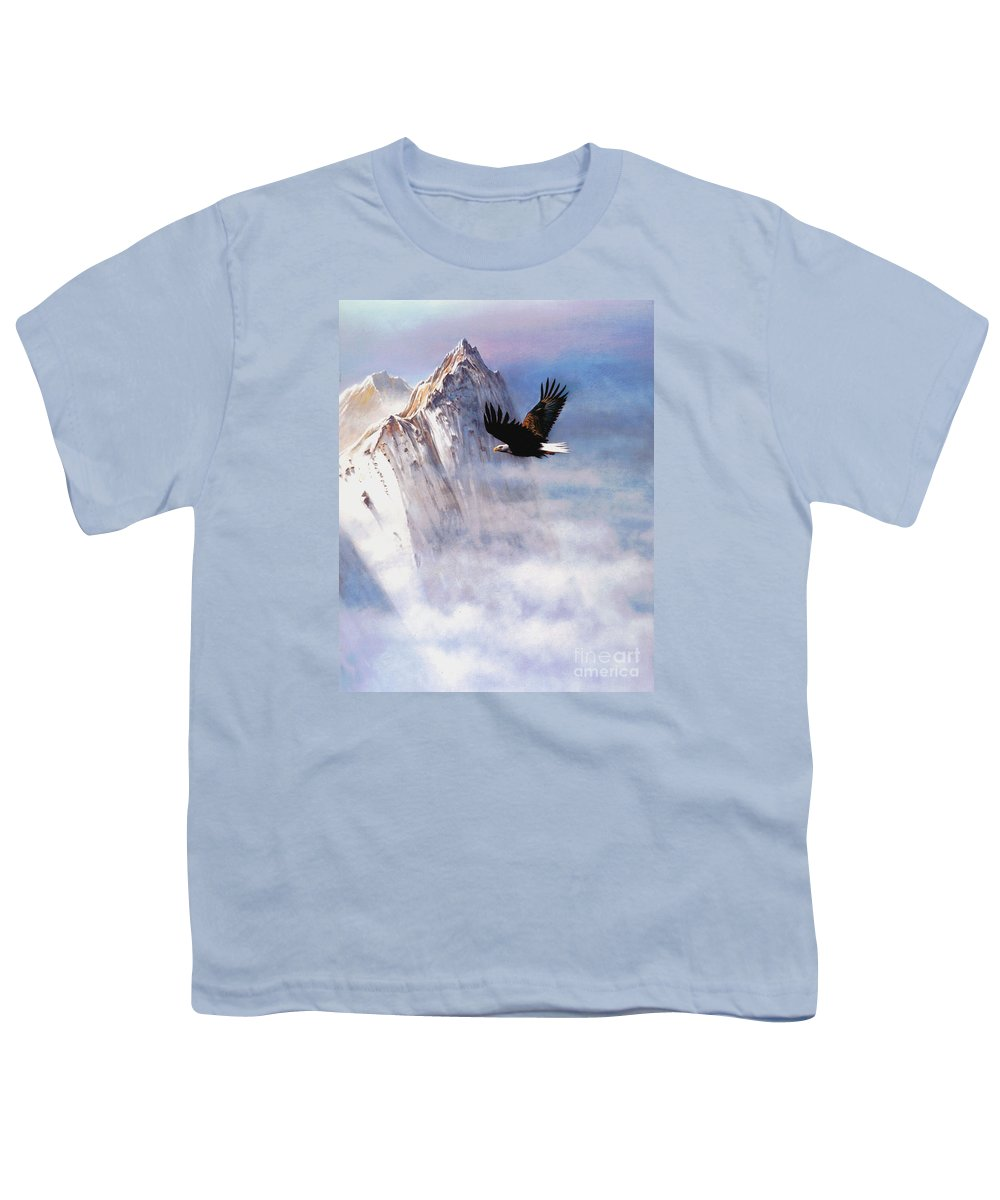 Eagle Youth T-Shirt featuring the painting Mountain Majesty by Robert Foster
