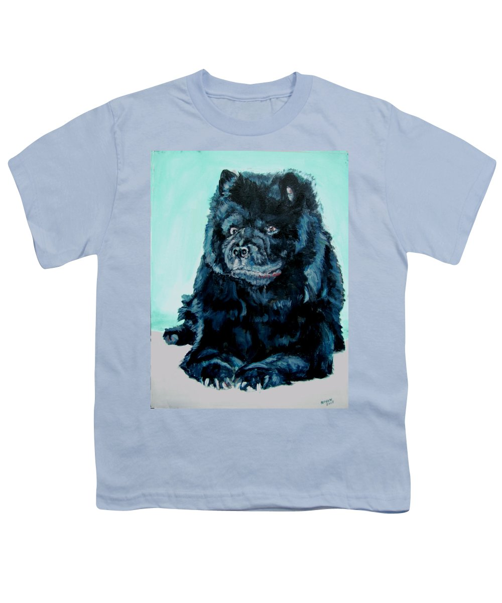 Dog Youth T-Shirt featuring the painting Nikki The Chow by Bryan Bustard