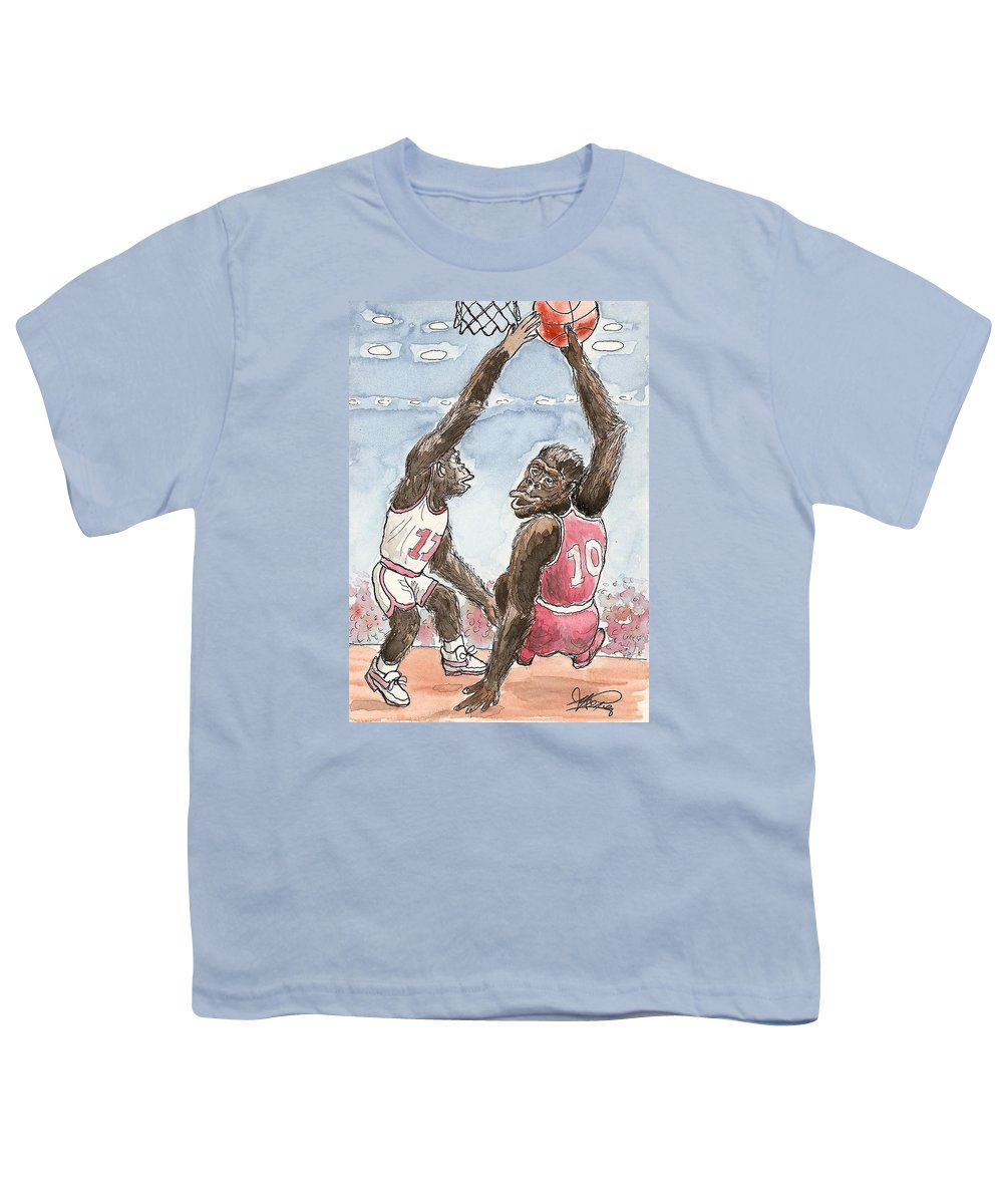 Basketbal Youth T-Shirt featuring the painting No No No by George I Perez