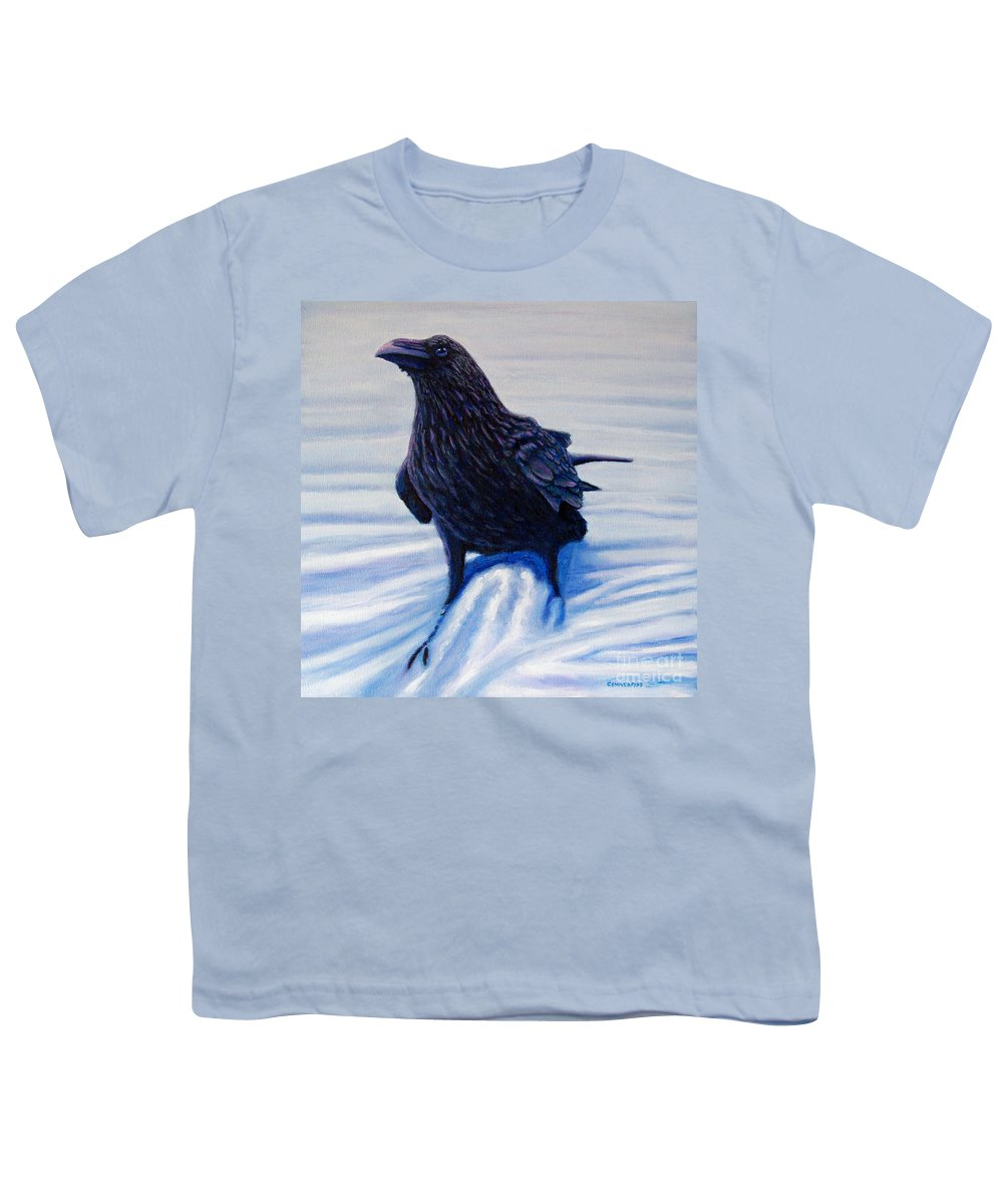 Raven Youth T-Shirt featuring the painting On Canyon Road by Brian Commerford