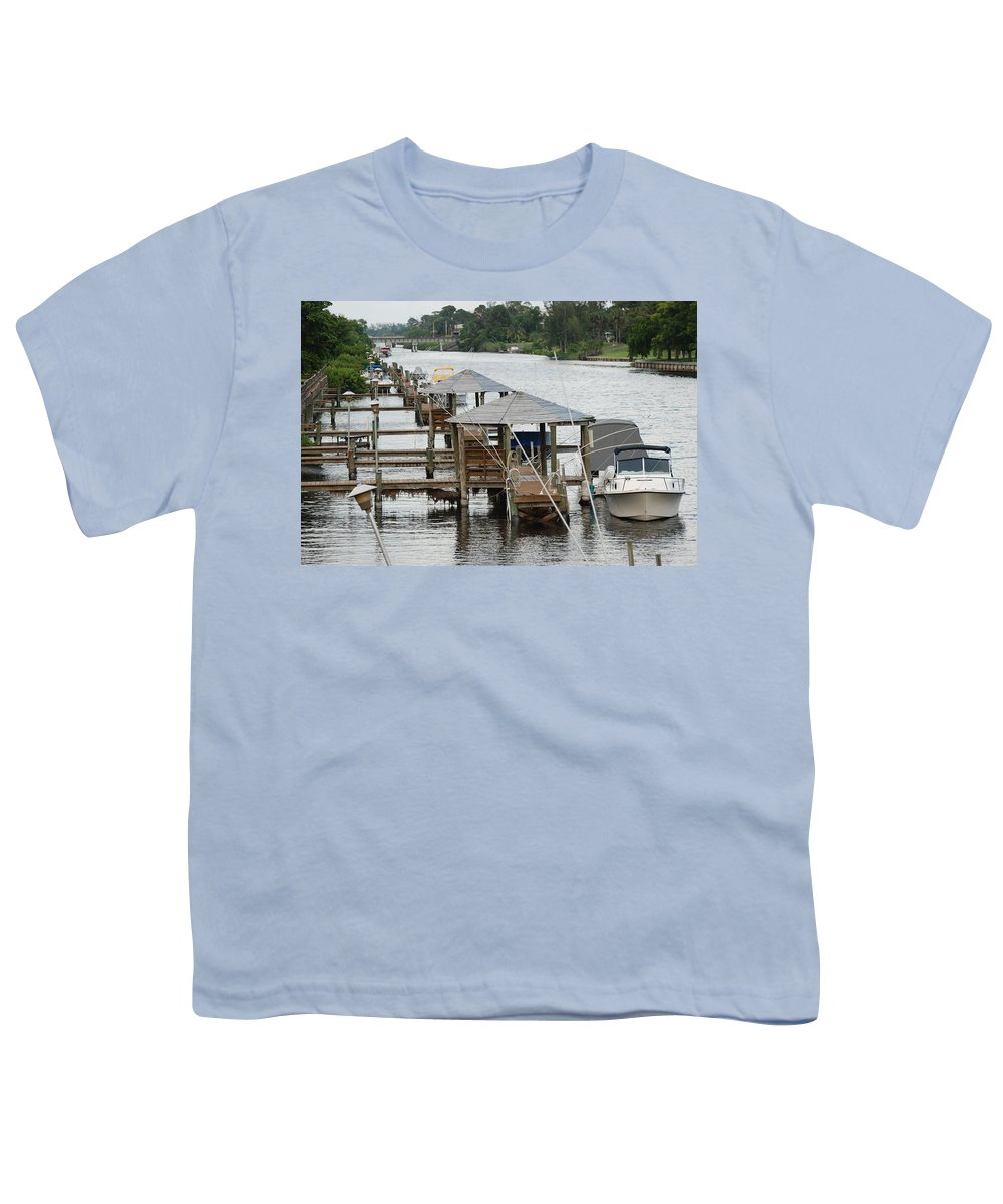 Boats Youth T-Shirt featuring the photograph On The Hillsboro Canal by Rob Hans