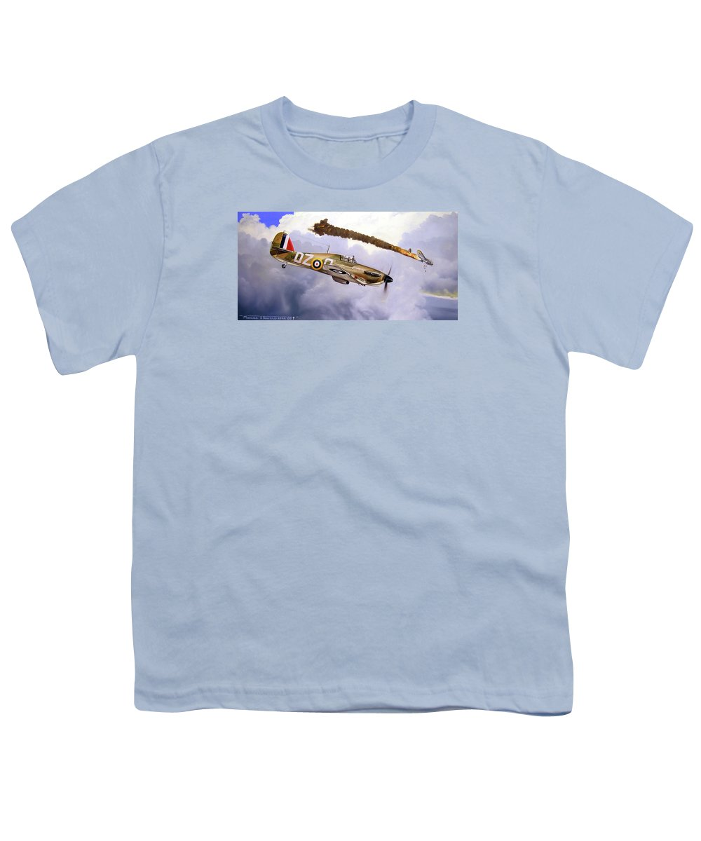 Aviation Art Youth T-Shirt featuring the painting One Of The Few by Marc Stewart