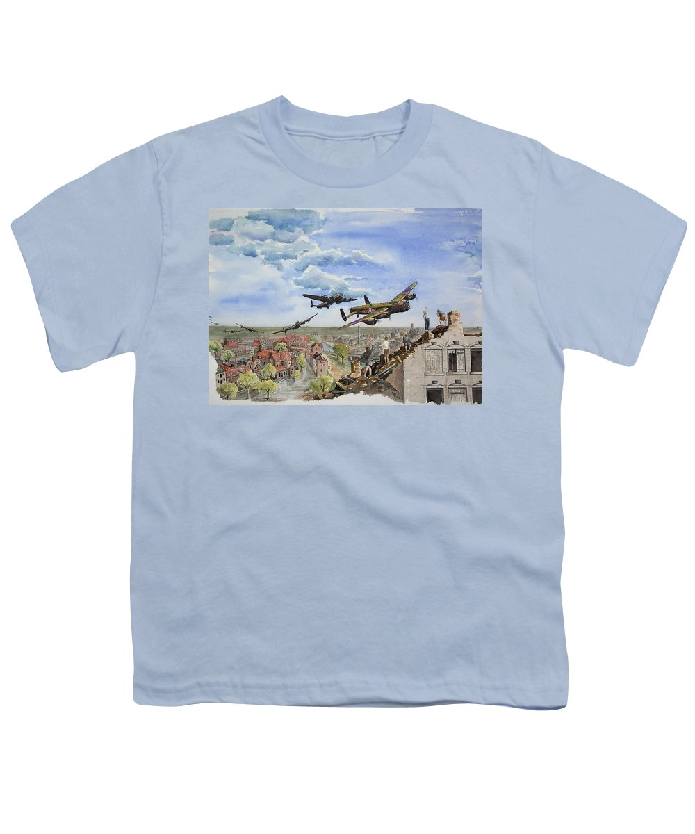 Lancaster Bomber Youth T-Shirt featuring the painting Operation Manna I by Gale Cochran-Smith